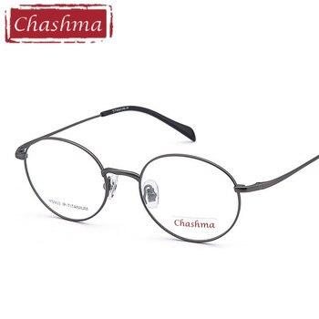 04c7100bd8 Chashma redonda de titanio gafas óptica Vintage espectáculo marcos Retro gafas  graduadas Luz de estudiante de moda gafas