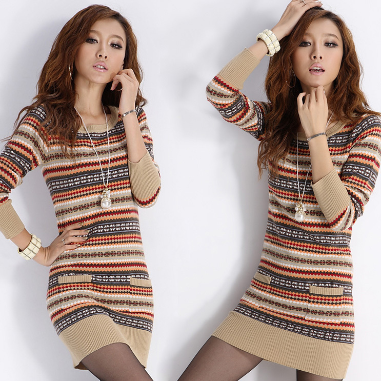 Aliexpress.com : Buy Knitting Geometric Sweater Dress For Winter ...