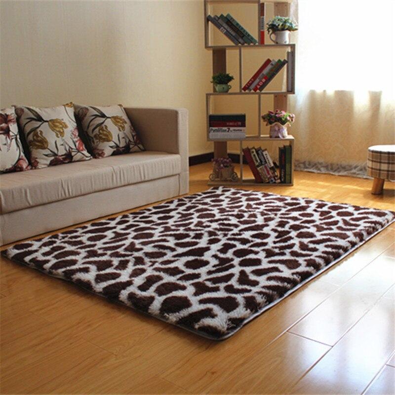 Fluffy Soft Carpet Rugs Bedside Area Rugs Shaggy Long Hair Rugs Carpets Leopard Printed Doormat Kitchen Hallway Bath Mat 40*60cm