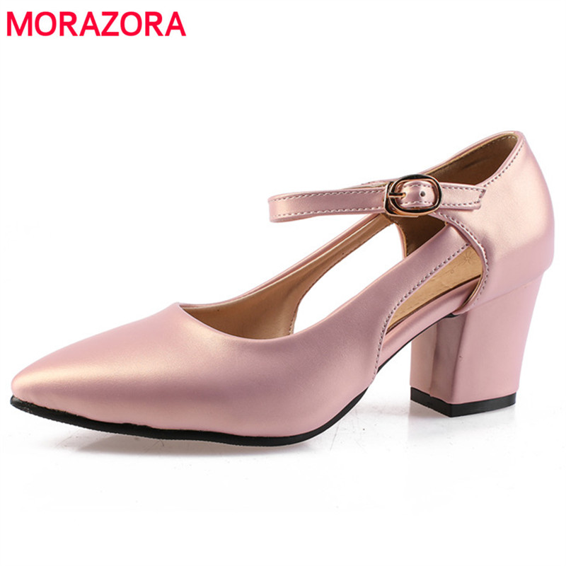 MORAZORA New arrive big size 34-43 women PU soft leather pumps party shoes fashion elegant high heels shoes buckle PU solid morazora pu patent leather women shoes pumps fashion contracted high heels shoes shallow big size 34 42 platform shoes party