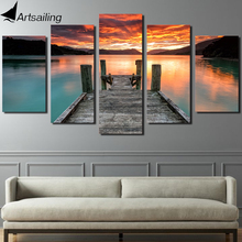 Framed Printed Lake sunset sky Painting childrens room decor print poster picture canvas Free shipping/ny-4195
