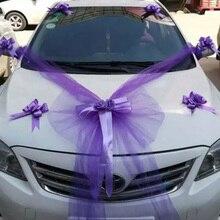 Свадебные автомобильные декоративные цветы, Шелковый Искусственный Тюль, вечерние украшения с бантом и розами, аксессуары для автомобиля, праздничные принадлежности