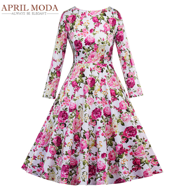 ac7fa69b7667 Long Sleeve Women Dress Casual Floral Printed 50s Rockabilly Vintage Swing  Dress with Belt O Neck