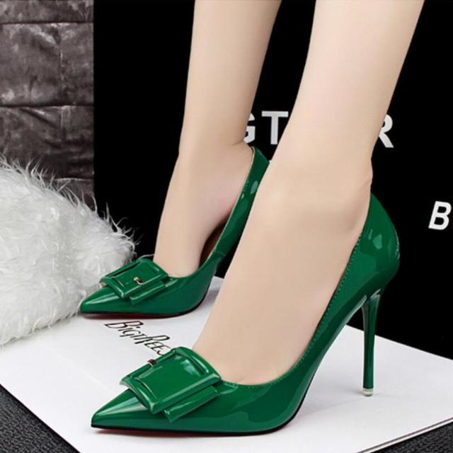 {D&H}Brand Shoes Buckle Patent Leather Woman High Heels Women Pumps Stiletto Thin Heel Pointed Toe High Heel Wedding Shoes Woman