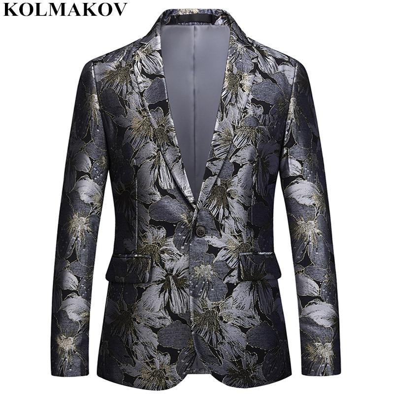 NEW Brand Floral Printed Blazers Mens 2019 Suits Jackets Slim Homme Top Designed Men s Blazer