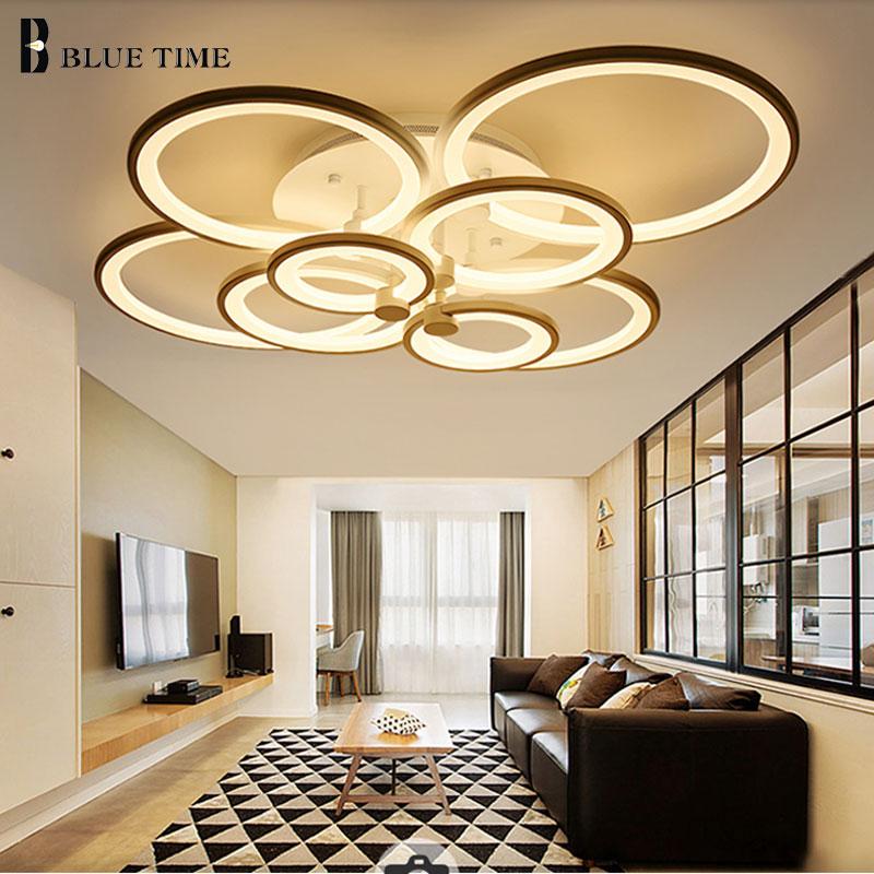 Stylish Living Room Lighting Ideas Meethue: White/Black Frame Rings Acrylic Modern Led Chandeliers