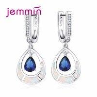 Jemmin Kadınlar Beyaz Yangın Opal Düğün Su Damlası Küpe 925 Gümüş Nişan Mavi Safir Dangle Küpe Takı