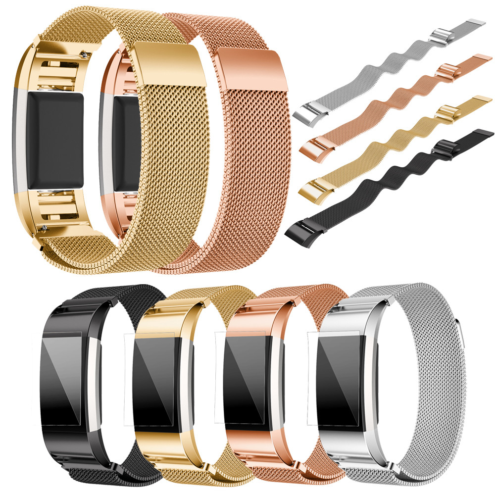 Milanes 220mm For Fitbit Charge 2 Watch Band Strap Stainless Steel Watchband Smartwatch Bands Straps Bracelet + HD Film N24