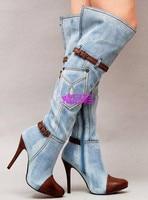 2017 Spring contrast color denim boots light blue color side zip buckles strap stiletto heels women knee boots plus size 35 43