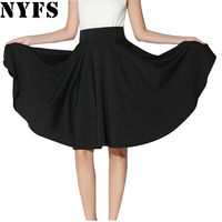Midi Skirt 2016 Summer Women Clothing High Waist Pleated A Line Skater Vintage Casual Knee Length