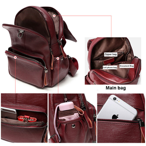 Image 4 - Genuine Leather Backpack Bags For Women 2019 Large Capacity Women Backpack Waterproof  Youth School Bags