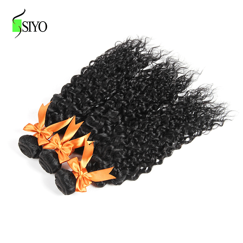 SIYO Burmese Hair Weave Bundles With Closure 3Pcs Water Wave Human Hair Bundles With Lace Closure Non Remy Hair Free Part