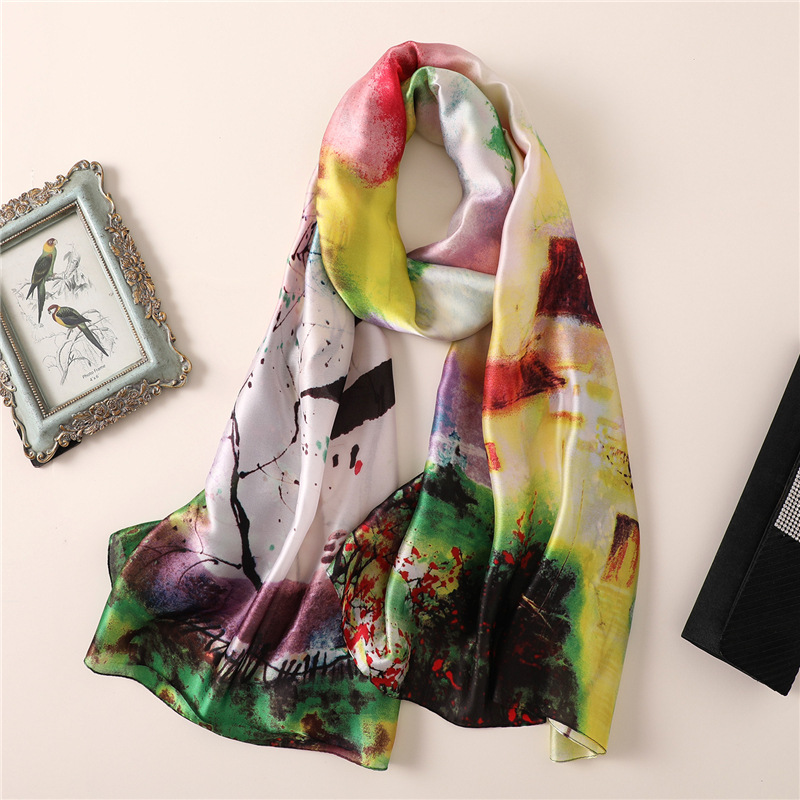 2018 designer brand women   scarf   summer silk   scarves   print long size shawls and   wraps   for lady pashmina bandana foulard hijabs
