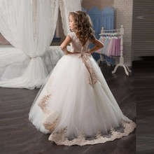 Dresses Ball-Gown First-Communion-Dresses Flower-Girl Lace with Sash Appliques Custom-Made