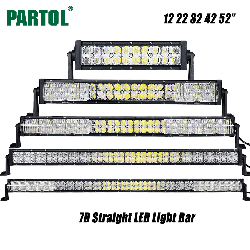 Partol 7D 12 22 32 42 52 inch LED Light Bar Offroad Led Work Light Driving Lamp Combo Beam for Camper Truck SUV Boat ATV 4x4 4WD super slim mini white yellow with cree led light bar offroad spot flood combo beam led work light driving lamp for truck suv atv