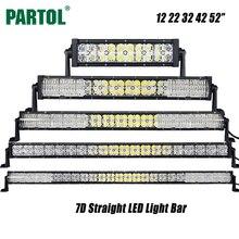 Partol 7D 12 22 32 42 52 zoll Led-lichtleiste Offroad Led Led-arbeitslicht Fernlicht Combo Strahl für Camper Lkw SUV Boot ATV 4×4 4WD