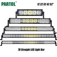 Partol 7D 12 22 32 42 52 inch LED בר אור Offroad Led עבודת מנורת נהיגה אור קרן משולבת לחניך משאית SUV סירת טרקטורונים 4x4 4WD