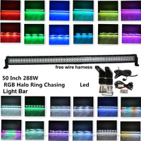 Honzdda 288w 50Inch Led Light Bar Halo Ring12 Colors RGB Chasing 300 Flashing Modes free wire harness led bar for offroad 4x4
