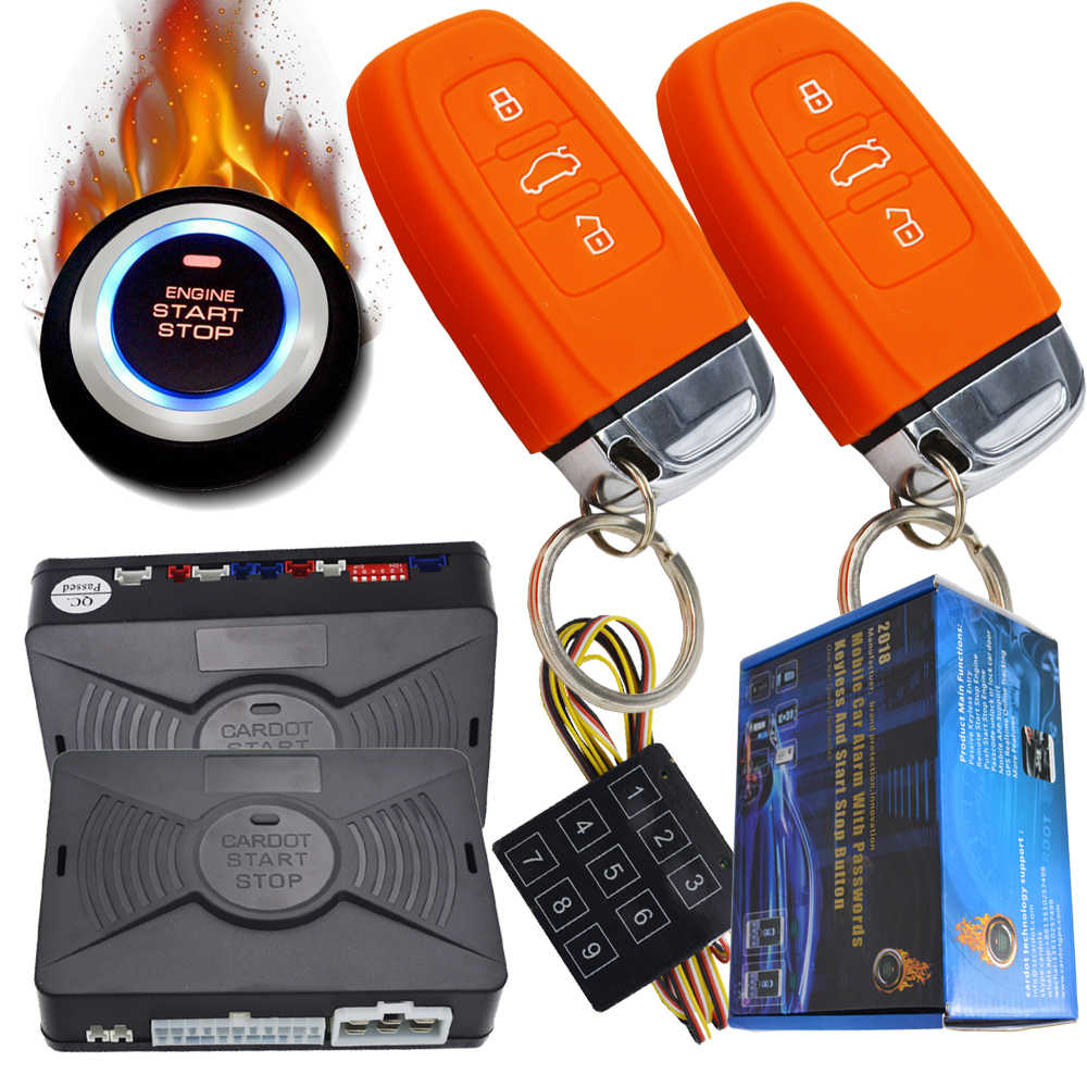 passive car alarm system with remote start stop function hopping code smart  key protection with bypass output for chip key cars