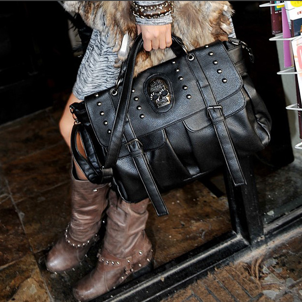 ФОТО 2016 new women bags Vintage shoulder bolsos carteras mujer marcas famosas Punk style skull women leather handbags