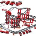 Большой размер Электрический Пожаротушения автомобиль трек набор Игрушки multi-layer железнодорожных Пластиковые сборка building block игрушки мальчики подарок juguetes