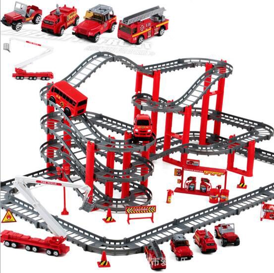 Large size Electric Firefighting car track set Toys multi-layer rail Plastic assembly building block toys boys gift  juguetes