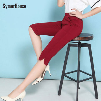 SymorHouse Good Quality Extra Large Size 6XL Women Capris Pants Super Stretch Summer black blue Elastic Calf length pants female