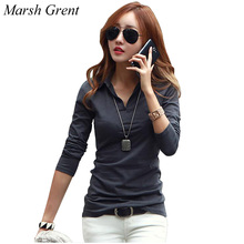 High Quality 6 Colors T Shirt Women Cotton Basic T-shirts Female Casual Tops Turn-down Collar Long Sleeve T-shirt