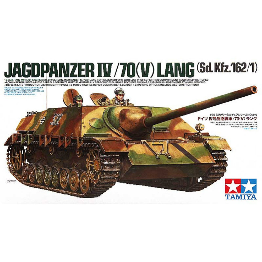 OHS Tamiya 35340 1/35 Jagdpanzer IV/70V Lang Sd Kfz 162/1 Military Assembly AFV Model Building Kits oh tobyfancy tamiya 1 35 ww2 german steyr type 1500a 01 military miniature ready to assembly model kit