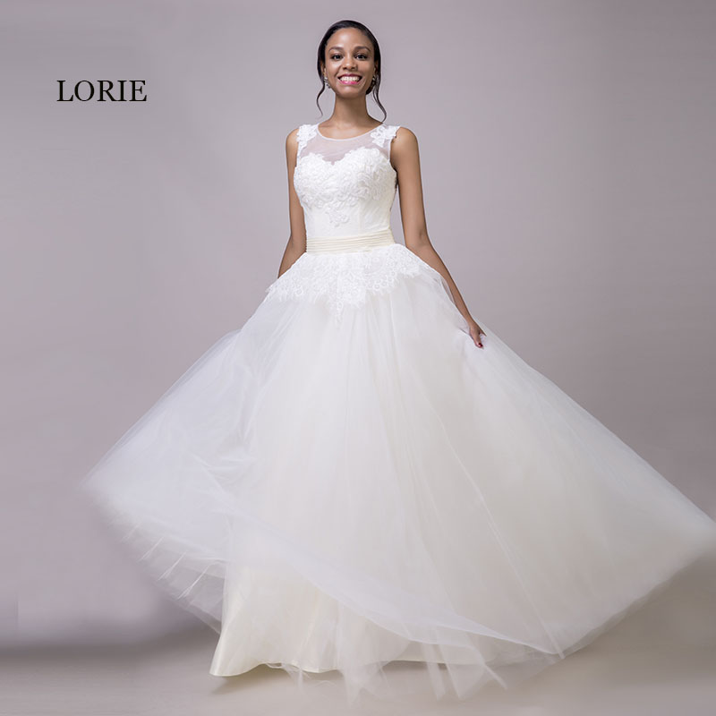 LORIE Wedding Dresses with Sleeves Scoop A Line Appliques Chiffon ...