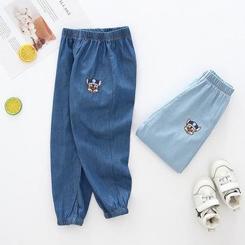 2019 letnie dzieci dżinsy dziecko chłopców dżinsy dziewczyny spodnie maluch dżinsy cienkie dżinsy dzieci dżinsy dla chłopców spodnie jeansowe 2-8Y tanie i dobre opinie Stranglethorn Na co dzień light Unisex Elastyczny pas REGULAR Stałe C19-02-007 Pasuje prawda na wymiar weź swój normalny rozmiar