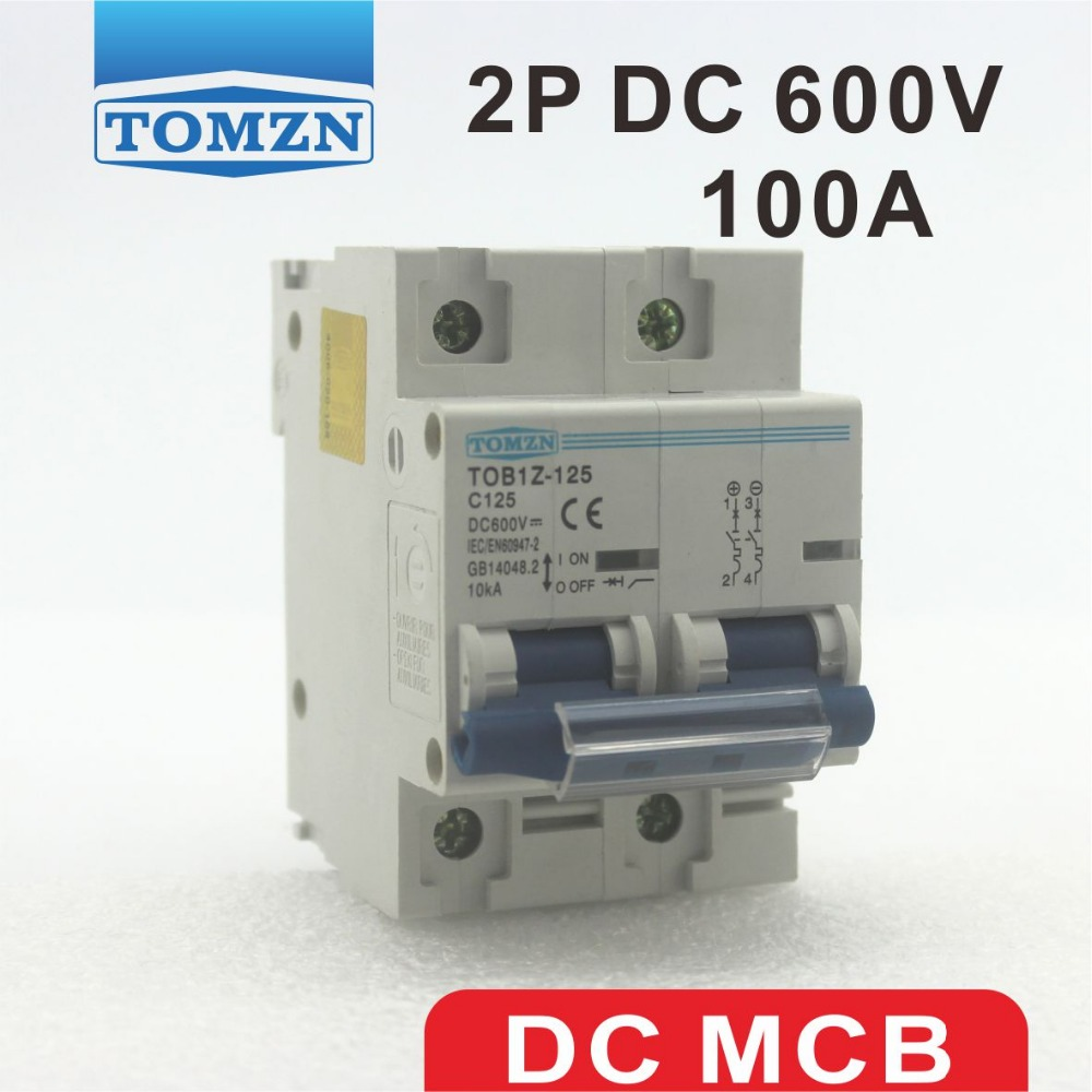 2P 100A DC 600V Circuit breaker FOR PV System C curve