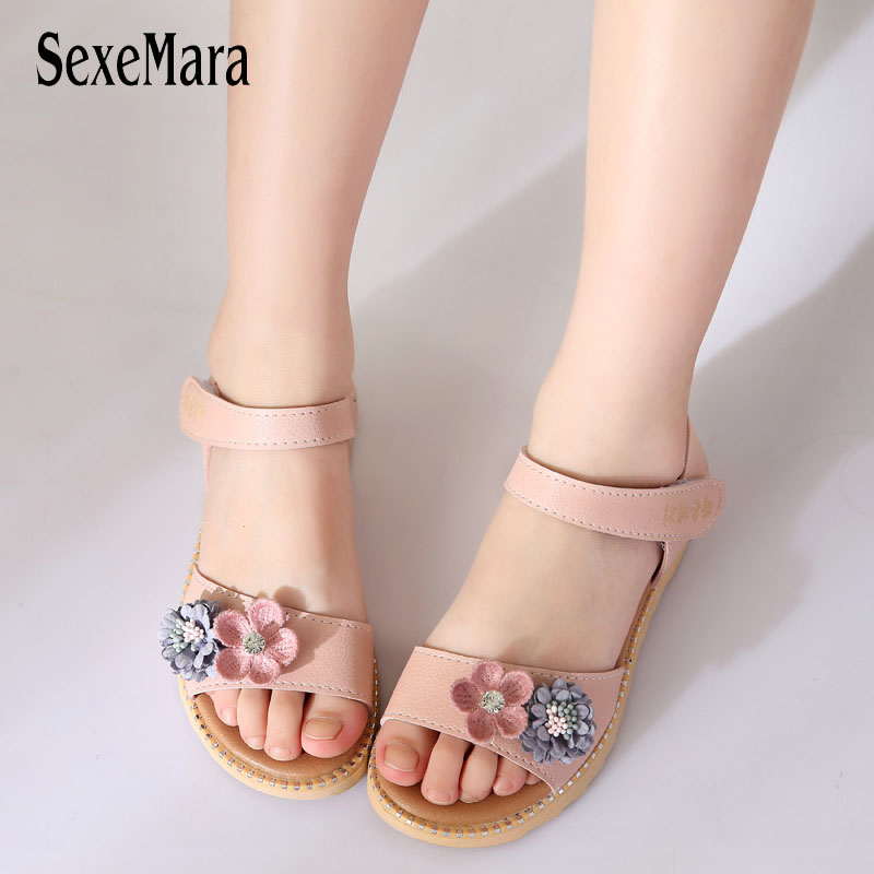 Flower Sandals For Girls 2018 Chilren's Shoes Girl Princess Dresses Party Sandal New Cute Kids Summer Beach Shoes Crystal B03131