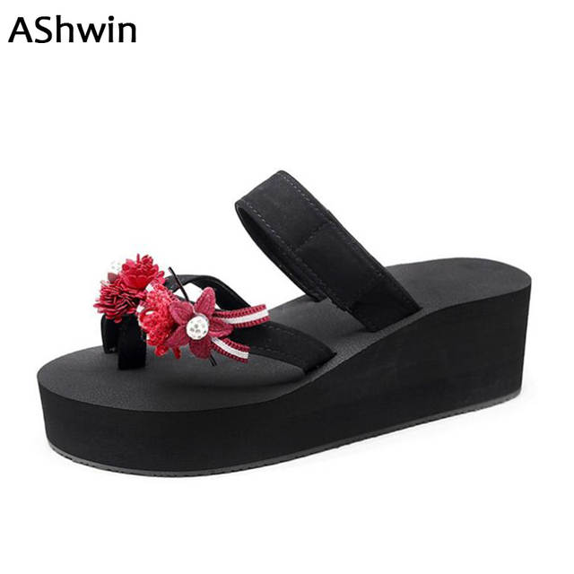 c0ed2c51698f3 AShwin new women sandals wedge platform lady sandal for summer shoes  fashion flower flip flops thong slippers outdoor mules clog