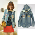 Vintage 2017 Korean New Women Military Denim Varsity Uniform Hooded Patchwork Loose Jeans Baseball Jacket,Sportswear S-L