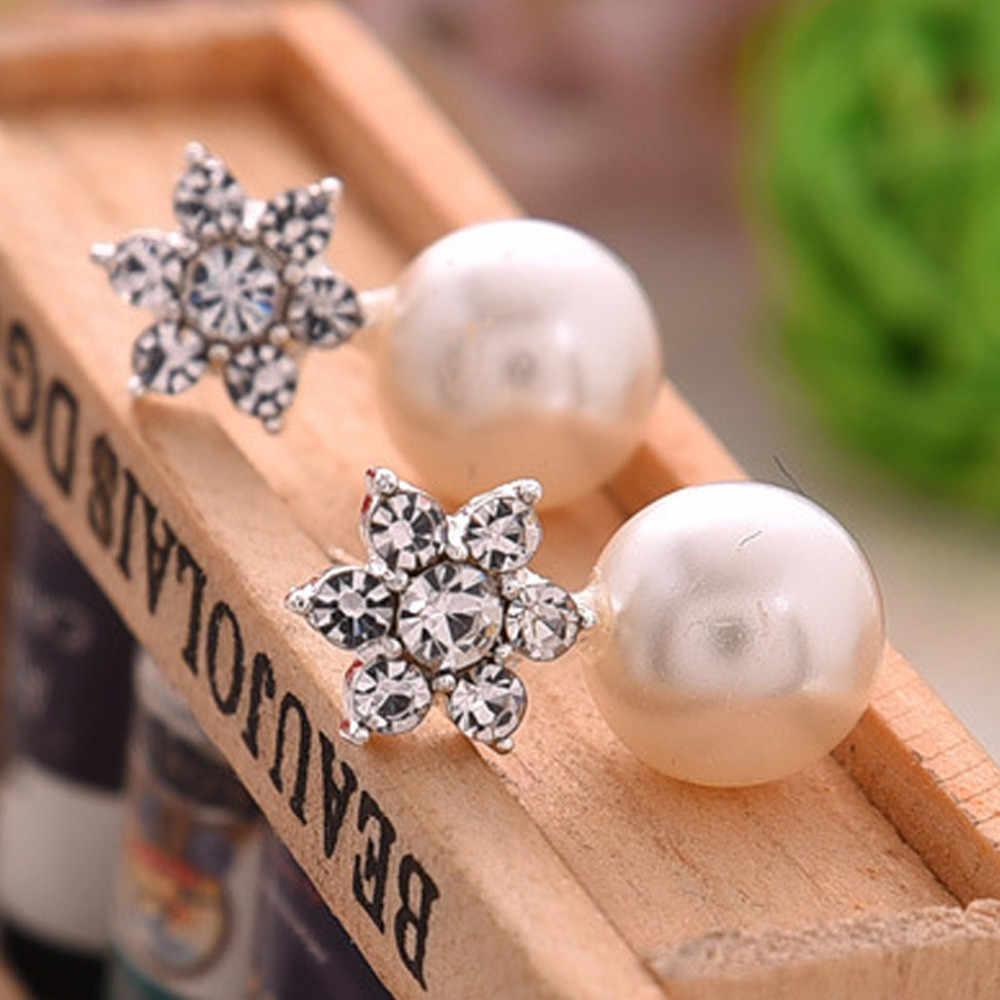 Bông tuyết Ngọc Trai Stud Bông Tai Phụ Nữ Quyến Rũ Đồ Trang Sức Cặp Pha Lê Snowflake Stud Bông Tai boucle d' oreille femme pendientes mujer