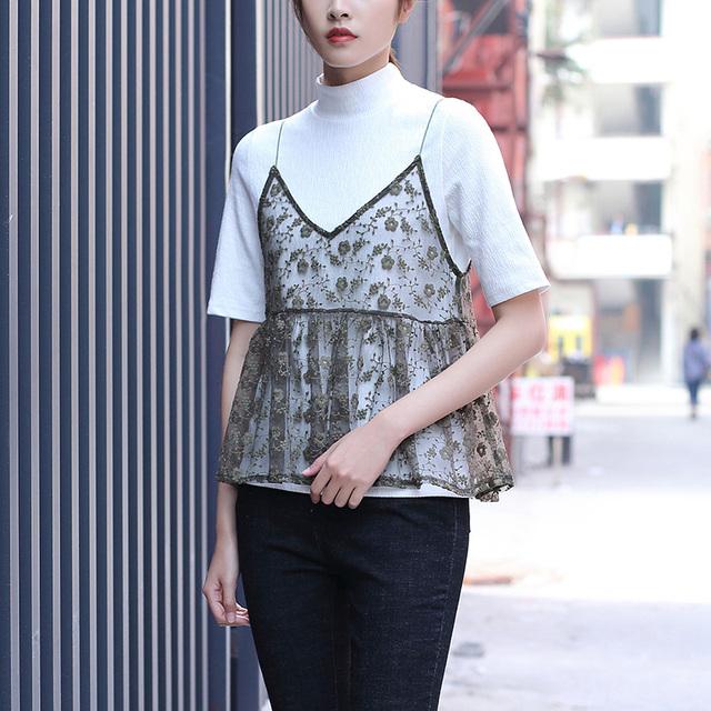 Yichaoyiliang Sexy Black Lace Camis Elegante Bordado Floral Impressão Spaghetti Oco Para Fora T-shirt Verão Casual Tops Tees