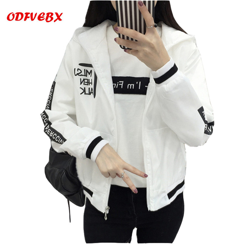 Fall of 2019 Women bomber   Basic     Jackets   Pocket Zip Hoodie   Jacket   Long sleeve Women's Letter   Jacket   Loose Coat Female ODFVEBX