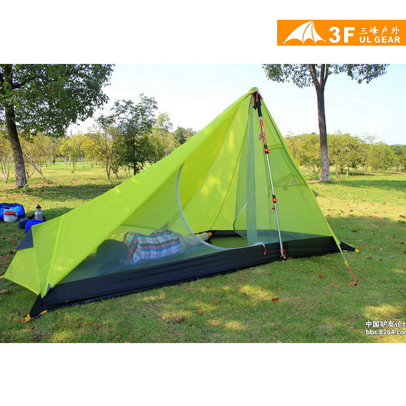 3F UL Gear Cangqiong1 Single 15D ultra-light No Poles Silicon Coating Reflective Stripes Camping Tent with A Free Mat
