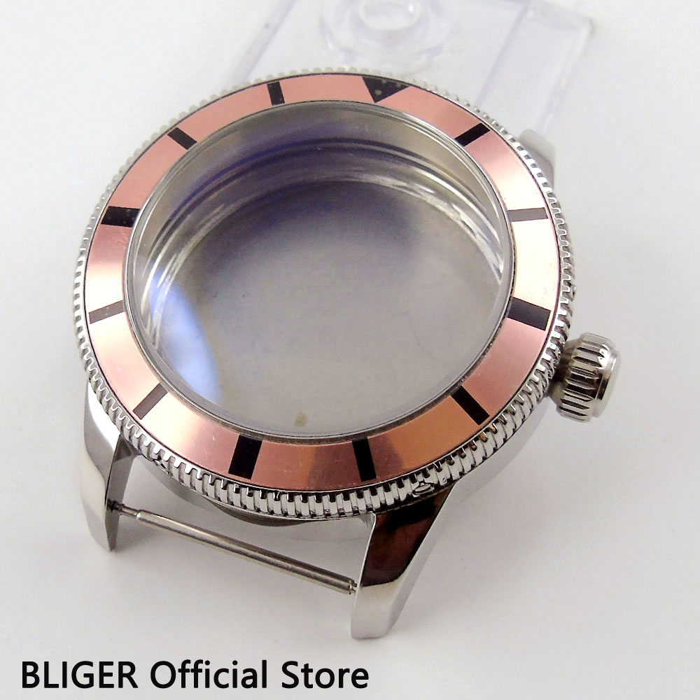 лучшая цена Solid 46MM Stainless Steel Watch Case Rotating Bezel Fit For ETA 2824 2836 Automatic Movement C90