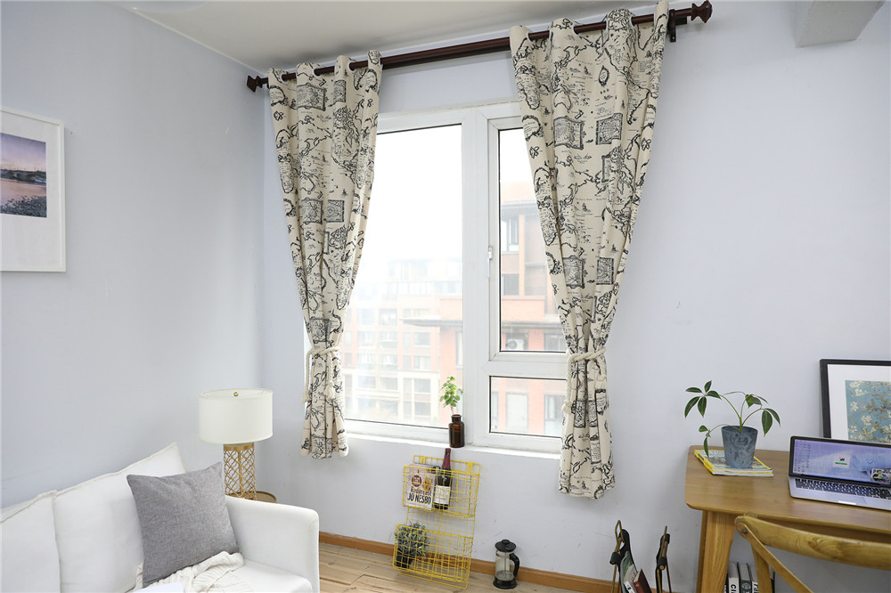 Image 5 - Countryside Modern Map Print Blackout Curtain Cotton Thick for Livingroom Bedroom Home Decoration Solid Window Treatment Drape-in Curtains from Home & Garden