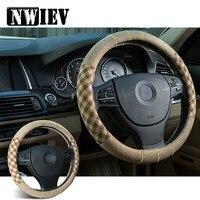 38cm Flax Car Styling Steering Wheel Cover For Ford Fiesta Mondeo Suzuki Inifiniti Kia Rio 3 K2 Sportage Ceed Lada granta vesta