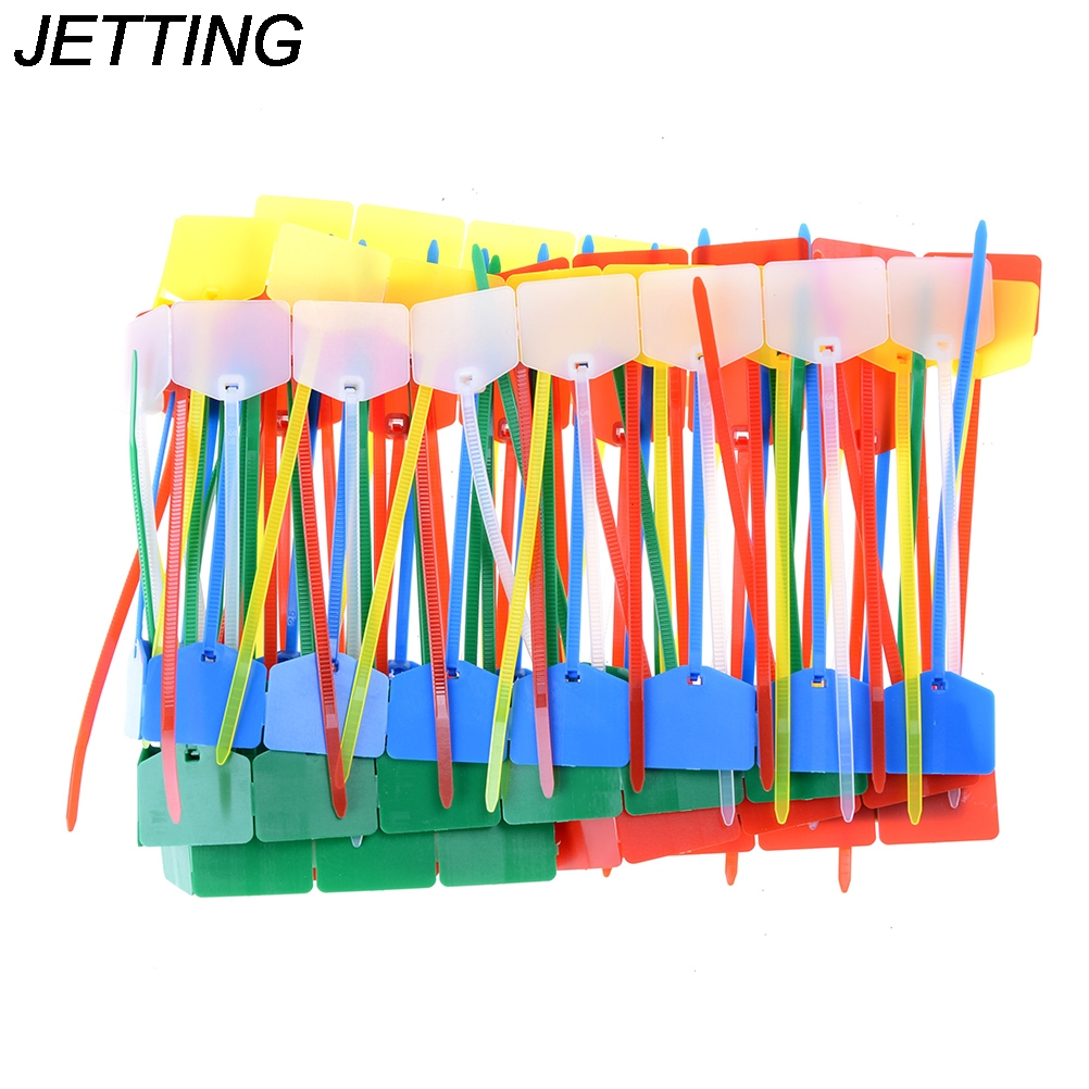 цена на JETTING 100pcs/lot High quality Network cable identification Mark Signs ties Nylon straps label tag tie Wholesale