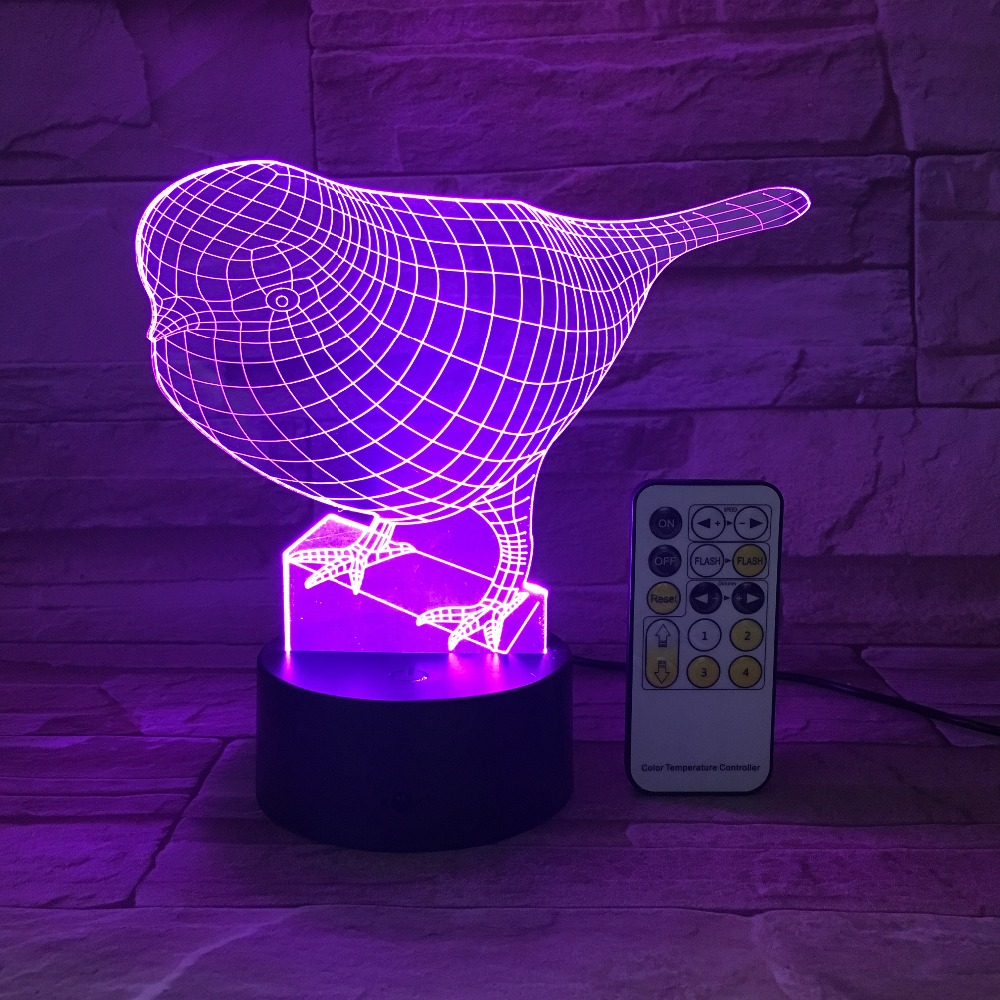 Cute Bird Night Light 3D USB Touch Switch Remote Control Acrylic Engrave 7 Color Gradient Atmosphere Table Lamp Kids Color Gifts