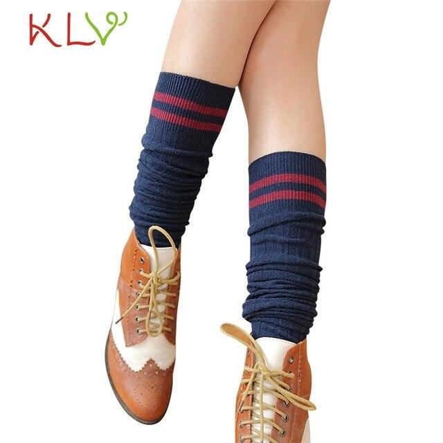 c8070e6c5fc77 2017 College Wind Thigh High Socks Cute Stockings Women Knee Socks Girls  Womens Chaussettes Hautes Femme
