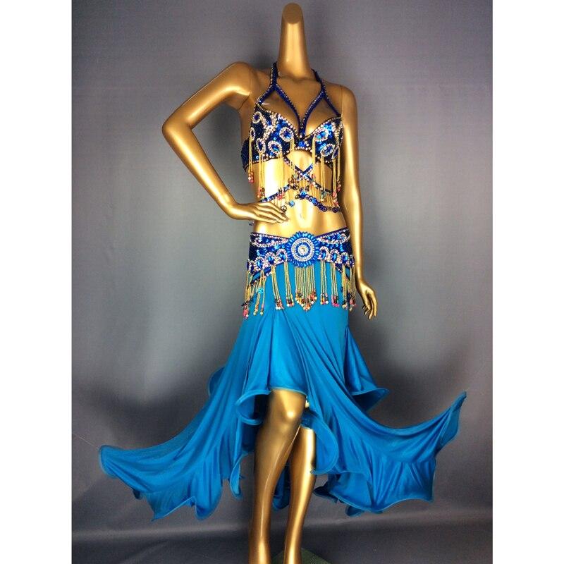 Spedizione gratuita A Mano di Perline Danza Del Ventre Samba Costume blu navy colore bra + belt + skirt + collo