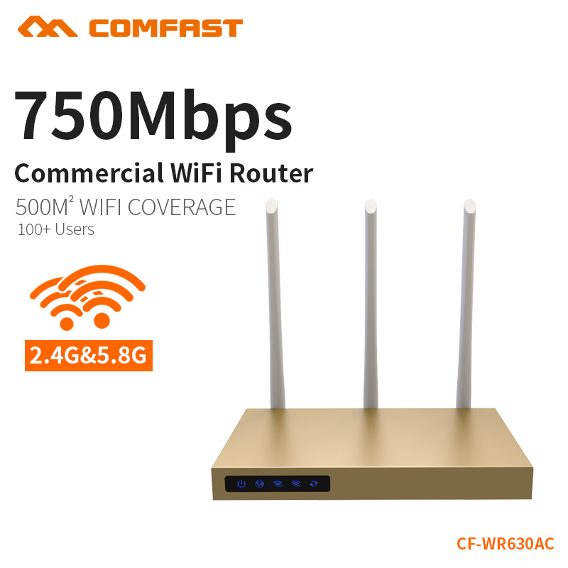 COMFAST 750mbs AC router 500 square meters coverage high power antenna 2.4G + 5.8G wifi access point wireless router CF-WR630AC comfast full gigabit core gateway ac gateway controller mt7621 wifi project manager with 4 1000mbps wan lan port 880mhz cf ac200