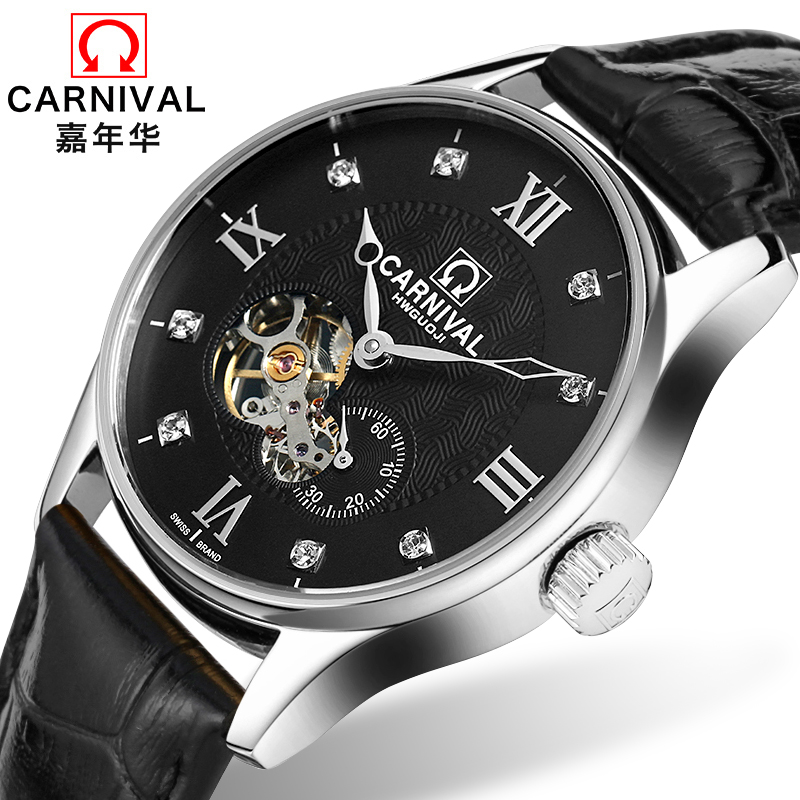 цена на Carnival Tourbillon Mechanical Watch Men Sapphire Hollow Dial Silver Stainless Steel Waterproof Reloj Hombre Relogio