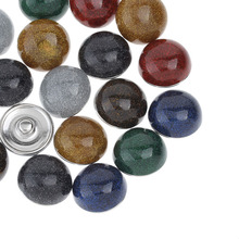 10Pcs Mixed Colors Round Resin Charm Click Snap Press Buttons 18mm