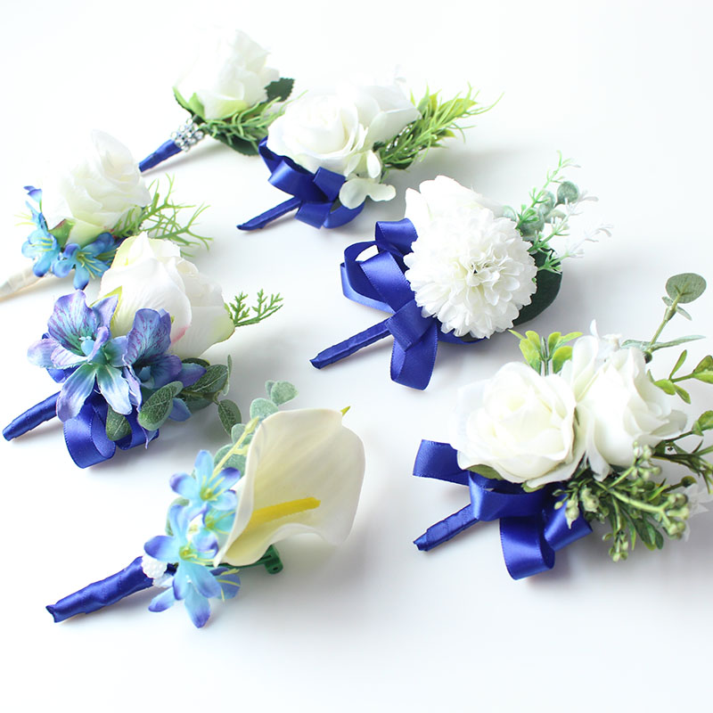 wedding boutonniere white blue groom suit decor (34)